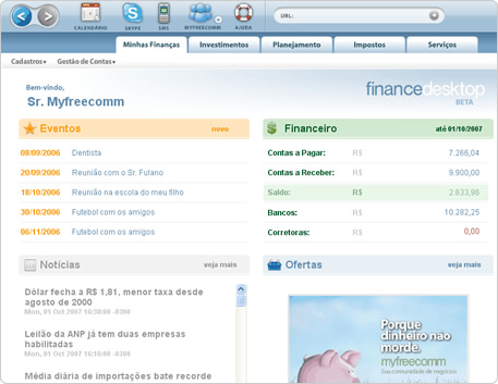 Screenshot do FinanceDesktop